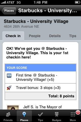 """Nogen har oprettet """"Starbucks University Village"""" og en bruger har tjekket ind"""