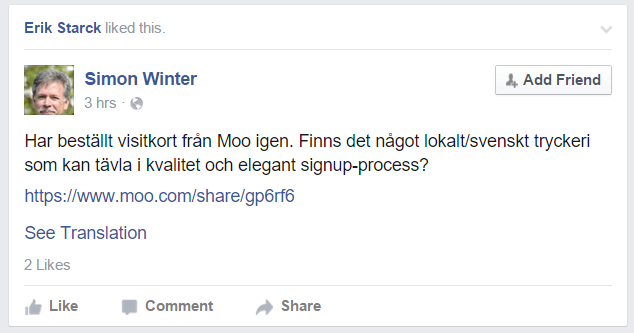 Anbefaling på FB